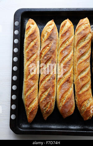 fresh gold baquettes  on baking tray, top view - Stock Photo