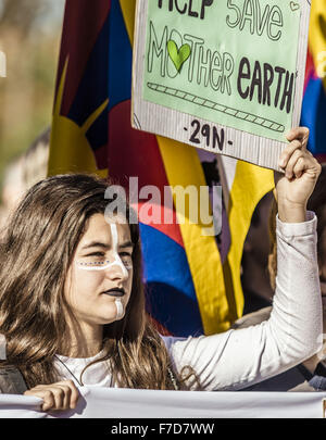 Nov. 29, 2015 - Barcelona, Catalonia, Spain - A protestor against global warming holds her placard during a protest - Stock Photo