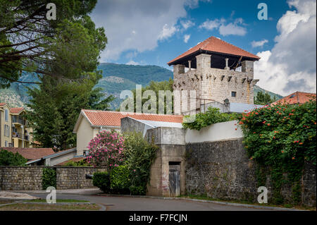 Ancient fortress watch tower in the Tivat old district - Stock Photo