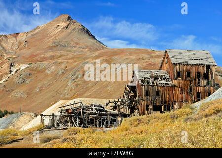 Abandoned Frisco Mill, San Juan Mountains, Colorado USA - Stock Photo