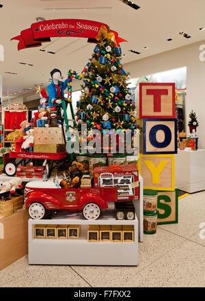 Christmas toys display at shopping center - USA - Stock Photo
