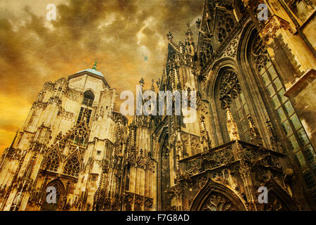 Vienna - st. Stephen cathedral or Staphensdom.  Photo in old color image style. - Stock Photo