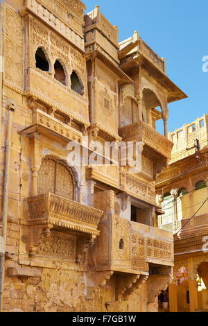 Decorated carvings in old haveli (mansion) in Jaisalmer, Rajasthan, India - Stock Photo