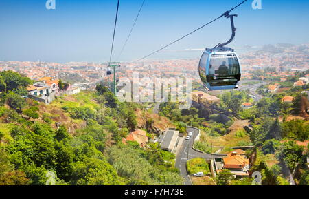 Cable car to Monte, Funchal, Madeira Island, Portugal - Stock Photo