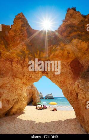 Rocks on the Prainha Beach near Alvor, Algarve, Portugal - Stock Photo