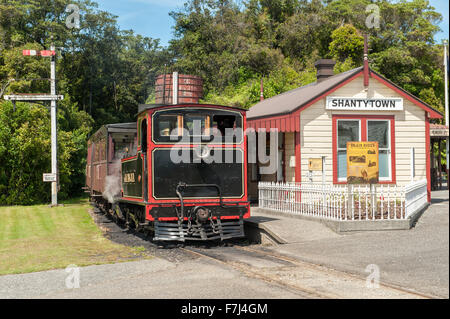Shantytown Heritage Park south of Greymouth on South Island, New Zealand. - Stock Photo