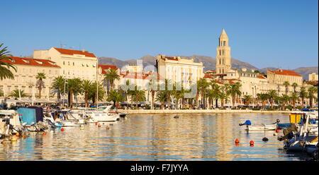 Split, seafront view to harbor in Split, Croatia - Stock Photo