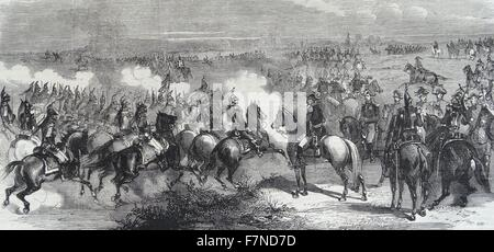 French cavalry at Luneville : A charge of the cuirassiers of the Imperial Guard. - Stock Photo