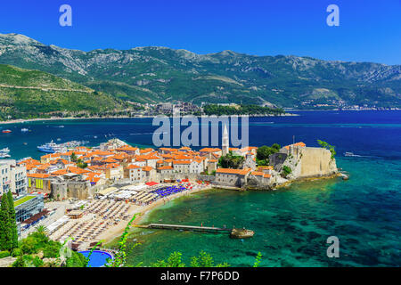 Budva, Montenegro. Panoramic view of the old town. - Stock Photo