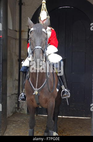 The Queen's Life Guard of the Household Cavalry Mounted Regiment London 2015 - Stock Photo