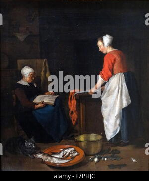 Painting titled 'An Old Woman Asleep' by Gabriël Metsu (1628-1667) Dutch painter of history paintings, still lifes, - Stock Photo