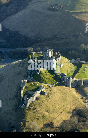 An aerial view of Corfe Castle, Dorset. - Stock Photo
