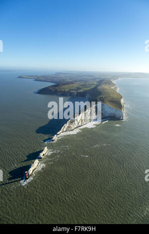An aerial view of The Needles Old Battery and New Battery, Isle of Wight. - Stock Photo