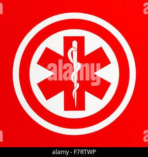 Red Health Care Caduceus Symbol in Circle. - Stock Photo