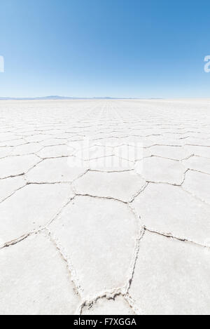 Wide angle view of the world famous Uyuni Salt Flat, among the most important travel destination in the Bolivian - Stock Photo
