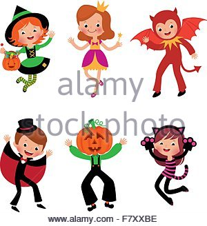 Children in Halloween costumes - Stock Photo