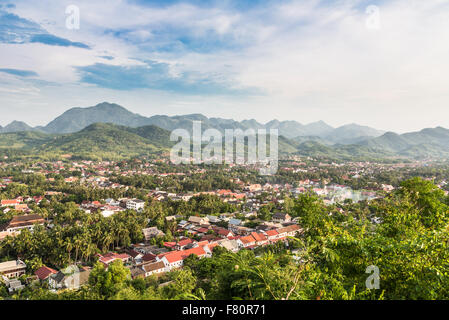 An aerial view of Luang Prabang in Laos. The city lies along the Mekong river and is one of the counrtry main travel - Stock Photo