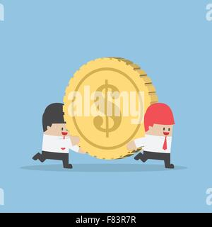 Businessman help his friend carrying big money coin, VECTOR, EPS10 - Stock Photo