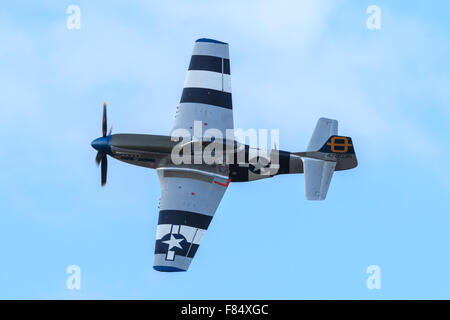 North American P-51D Mustang  'Ferocious Frankie'  displaying at Southport Airshow 2014 - Stock Photo