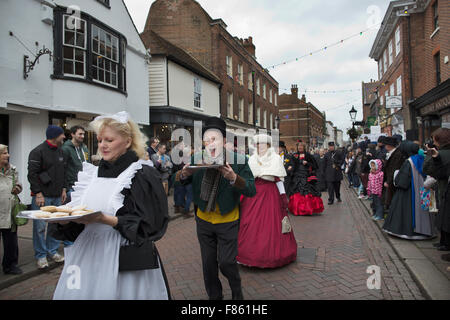 Annual Dickensian Christmas Festival to commemorate and celebrate the life of Charles Dickens, Rochester Kent, United - Stock Photo