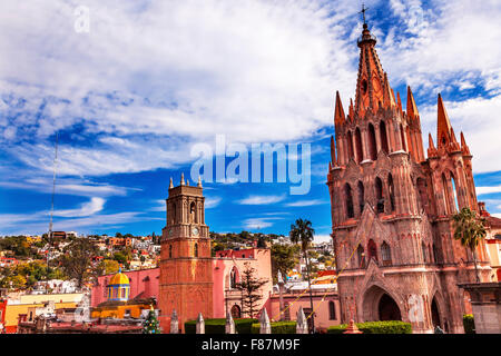 Parroquia Archangel church Town Square Rafael Church San Miguel de Allende, Mexico. Parroquia created in 1600s. - Stock Photo