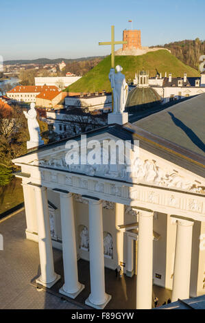 Vilnius Cathedral facade with Gediminas tower in background as seen from the belfry. Vilnius, Lithuania, Europe - Stock Photo