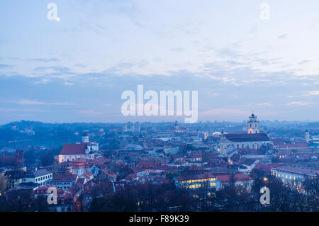 Old town overview at dusk. Vilnius, Lithuania, Europe - Stock Photo