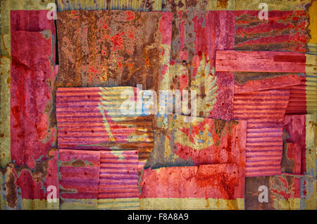An abstract background image of the flag of Montenegro painted on to rusty corrugated iron sheets overlapping to - Stock Photo