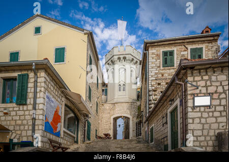 Clock tower in the Herceg Novi old town - Stock Photo