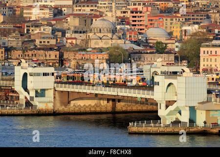 Galata Bridge, Golden Horn, Istanbul, Turkey, Europe - Stock Photo