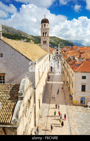 Dubrovnik, Stradun Street, main place in Dubrovnik Old Town, Croatia - Stock Photo