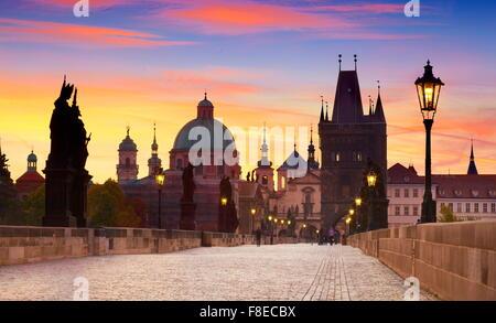 Prague Old Town skyline, Charles Bridge, Czech Republic, UNESCO - Stock Photo