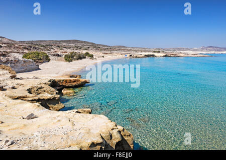 The beach of Mitakas in Milos, Greece - Stock Photo