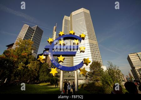 Euro sculpture in front of the former European Central Bank, ECB, Frankfurt am Main, Hesse, Germany, Europe - Stock Photo