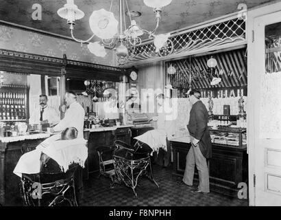 Barber Shop, New York City, New York, USA, 1895 - Stock Photo