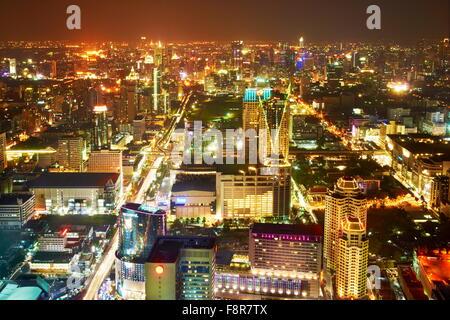 Thailand - Bangkok, aerial cityscape view from Bayoke Sky Tower - Stock Photo
