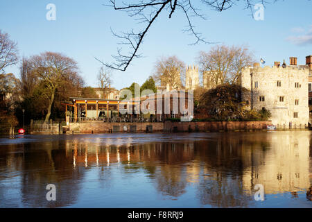 Reflections in the River Ouse near Lendal Bridge (3) , City of York, North Yorkshire, England, UK - Stock Photo