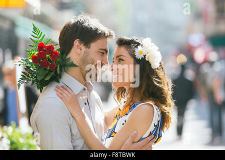 Young couple dating in Paris - Stock Photo