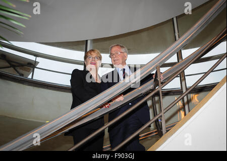 Comedian, actor and writer Eddie Izzard (left) and his father, John Izzard (right) attend the De La Warr Pavilion - Stock Photo