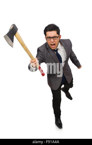 Young businessman holding a tool isolated on white - Stock Photo