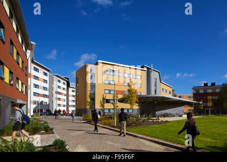 Mackinder and Stenton halls of residence, University of Reading, Berkshire. View of residential halls with a pathway - Stock Photo