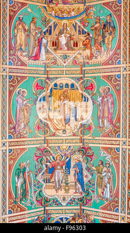 Painted wooden ceiling (illustrating accounts from the New Testament about the birth of Jesus) at Ely cathedral. - Stock Photo