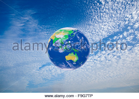 Concept illustration of the earth surrounded by it's atmosphere. - Stock Photo