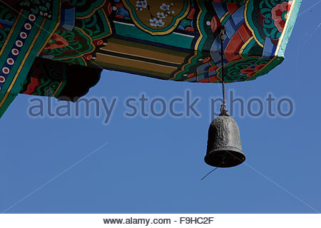 wind chime hanging under the eaves, Naksansa Temple - Stock Photo
