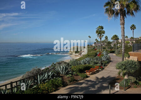 Treasure Island park walkway Laguna Beach, CA adjacent the Montage hotel - Stock Photo