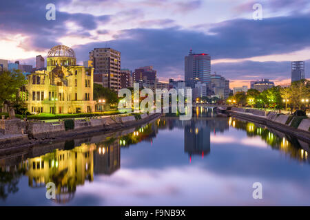 Hiroshima, Japan skyline at the Atomic Dome and Peace Memorial Park. - Stock Photo
