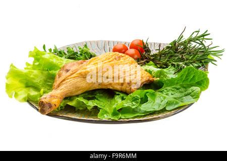 Smoked chicken leg - Stock Photo