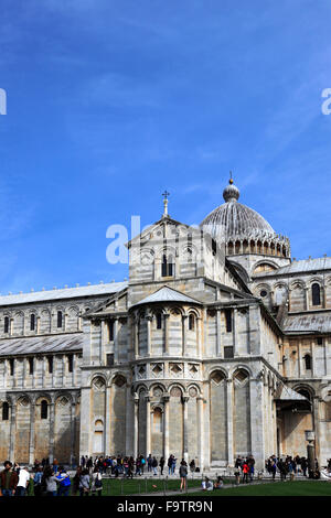 Tourists at the Duomo Cathedral, Square of Miracles, Pisa city, UNESCO World Heritage Site, Tuscany, Italy, Europe. - Stock Photo