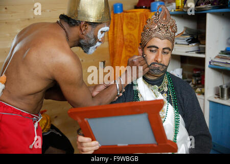 Celebration of Diwali festival in an ISKCON temple. Devotees getting dressed for a religious play - Stock Photo