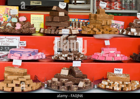 Assorted Fudge on a market stall - Stock Photo